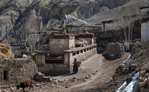 A resident walks through the village of Dhye Khola, Nepal on Thursday, March 12, 2020. The New York Times
