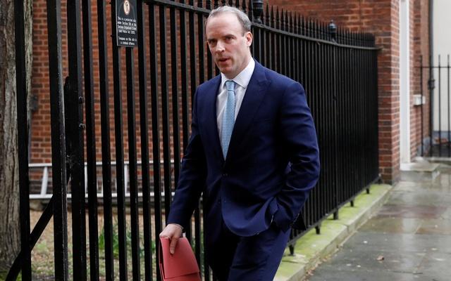 Britain's Secretary of State for Foreign affairs Dominic Raab leaves 10 Downing Street in London as the spread of the coronavirus disease (COVID-19) continues, London, Britain, April 6, 2020. REUTERS