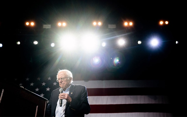 Sen Bernie Sanders (I-Vt) at a campaign rally in Los Angeles on Mar 1, 2020. The New York Times