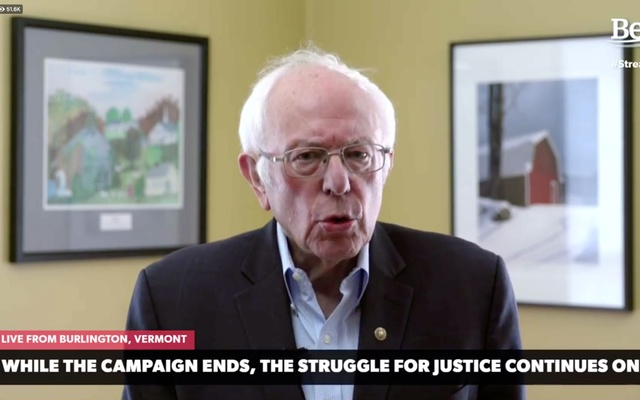Sen. Bernie Sanders announces he is dropping out of the race for the US Democratic presidential nomination as seen in a frame grab off via during its broadcast Wednesday, April 8, 2020. (Campaign video via The New York Times)