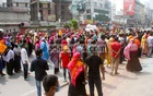 Workers of an apparel factory gathered to demand their wages at the risk of coronavirus infection amid the nationwide shutdown at Dhaka's Badda on Wednesday.