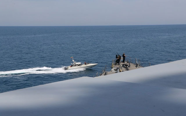 An Iranian Islamic Revolutionary Guard Corps Navy (IRGCN) vessel, one of several to maneuver in what the US Navy says are