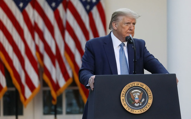 US President Donald Trump addresses the daily coronavirus task force briefing in the Rose Garden at the White House in Washington, US, April 15, 2020. REUTERS