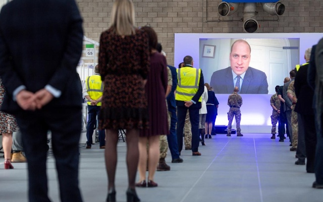 Britain's Prince William speaks via videolink as he officially opens the NHS Nightingale Hospital Birmingham, built in the National Exhibition Centre (NEC), in Birmingham, Britain Apr 16, 2020. REUTERS