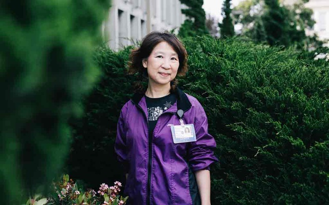 Cinderella Lee, a Cantonese interpreter for Sutter Health in San Francisco, on April 16, 2020. The New York Times
