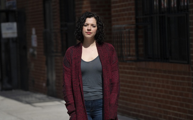 Amy Berryman, who was laid off from her bartending job, near her home in New York, April 15, 2020. THE NEW YORK TIMES