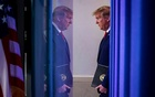 US President Donald Trump arrives during the daily coronavirus task force briefing at the White House in Washington, US, April 18, 2020. REUTERS