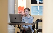 Environmental activist Greta Thunberg participates in a video conversation with Johan Rockstrom, who joins from Germany, about the coronavirus disease (COVID-19) and the environment at the Nobel Museum in Stockholm, Sweden on Apr 22, 2020. REUTERS
