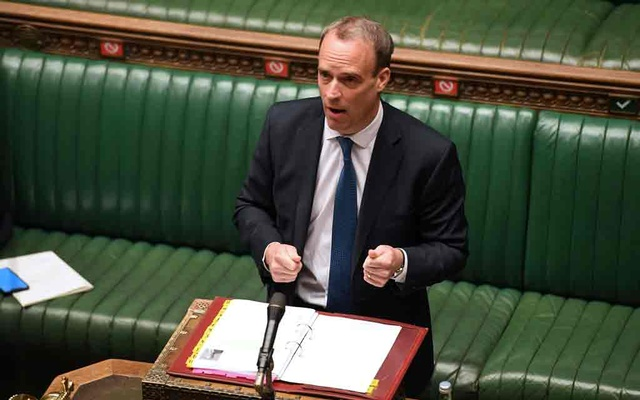 Britain's Foreign Secretary Dominic Raab speaks during the weekly question time debate at the Parliament, during the hybrid parliament session amid the coronavirus disease (COVID-19) outbreak, in London, Britain, April 22, 2020. ©UK Parliament/Jessica Taylor/Handout via REUTERS