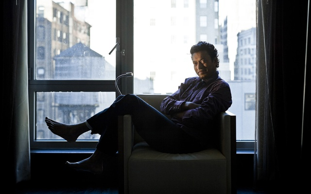 """FILE -- Irrfan Khan in New York 2012. Khan, the celebrated Indian actor who became a crossover star in Hollywood, died on Wednesday, April 29, 2020, in a Mumbai, India, hospital. He was 53. Khan started his career playing small roles on Indian television in the 1980s. He found critical and commercial success later in life, with roles in movies like """"Slumdog Millionaire,"""" """"Life of Pi"""" and """"The Namesake."""" (Chad Batka/The New York Times)"""