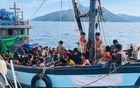 A wooden boat carrying Rohingya migrants being detained in Malaysian territorial waters off the island of Langkawi in April 2020. The New York Times