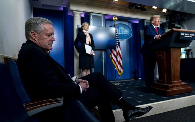 White House Chief of Staff Mark Meadows listens to President Donald Trump speak during a coronavirus briefing at the White House in Washington, April 18, 2020. The New York Times