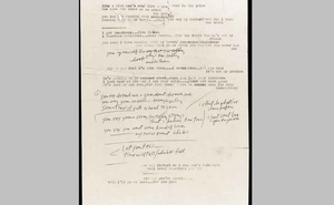 Bob Dylan's typescript and manuscript lyrics dated from 1966 are pictured in unknown location, in this undated handout photo obtained by Reuters May 5, 2020. REUTERS
