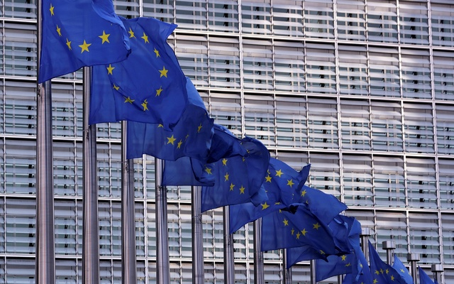 FILE PHOTO: European Union flags fly outside the European Commission headquarters in Brussels, Belgium, February 19, 2020. Picture taken February 19, 2020 REUTERS