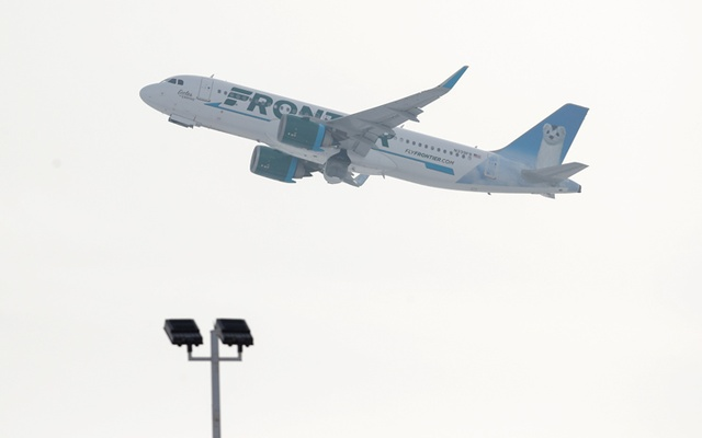 A Frontier Airlines Airbus A320neo plane departs from O'Hare International Airport in Chicago. REUTERS