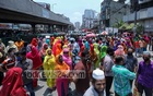 Workers of a garment factory blocked a road in Dhaka's Malibagh on Thursday demanding payment of due wages.