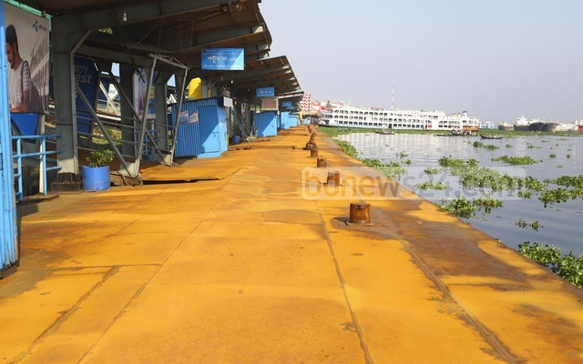 The metal decks at the Sadarghat launch terminal begins to catch rush in the absence of passengers over the last one and a half months during the nationwide lockdown over a coronavirus outbreak. Photo: Asif Mahmud Ove