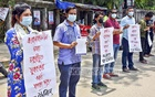 Members of Bangladesh Youth Union demonstrated outside the National Press Club in Dhaka on Sunday demanding financial help from the government for the youths who have lost jobs due to the coronavirus crisis.