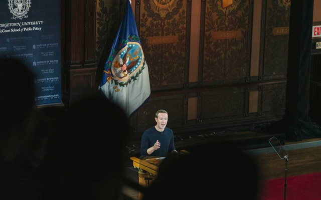 Mark Zuckerberg, Facebook's chief executive, delivers an address at Georgetown University in Washington on Oct. 17, 2019. Zuckerberg defended Facebook as a champion of free speech and democracy. (Justin T. Gellerson/The New York Times)