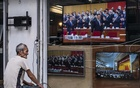 A man watches a TV news program in Hong Kong, Friday, May 22, 2020. Televisions in Hong Kong showed reports about Beijing's plans to impose national security legislation. (Lam Yik Fei/The New York Times)