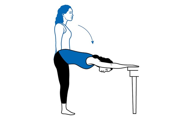 A modified yoga down-dog pose using a desk or kitchen table can stretch the entire back of the body. Done correctly, these restorative stretches, working on muscles from your eyes to your toes, make you feel better.