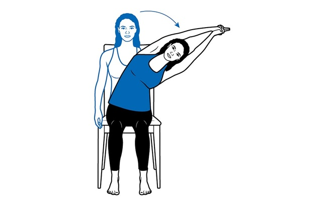 In a seated position, side bends and twists can release the compression between the vertebrae and increase range of motion.