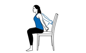 A seated stretch can help open the shoulders, release tight chest muscles and combat poor posture, by scooting to the edge of a chair or stool, extend the arms behind the back and interlace the fingers.