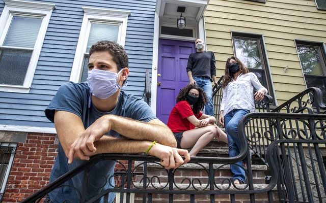 Bill Shapiro, top, and his partner Naomi Wax, with their son, Sasha, and daughter, Soren, of Windsor Terrace in Brooklyn on May 22, 2020. The New York Times