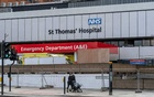 FILE -- The hospital in London on April 6, 2020, where Prime Minister Boris Johnson was treated for coronavirus. Britain's hospitals are revered for providing free, universal health coverage. (Andrew Testa/The New York Times)