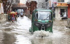 A street at Kazipara in Dhaka's Mirpur went under water after rains early Wednesday morning. Photo: Asif Mahmud Ove