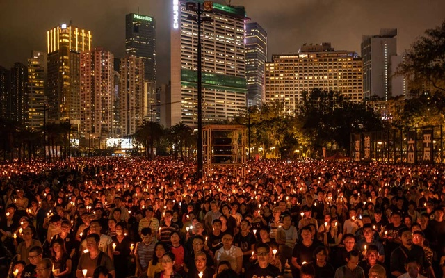 A candlelight vigil in Hong Kong, on Jun 4, 2019, an annual tradition to commemorate victims of the 1989 Tiananmen Square crackdown in Beijing. The New York Times