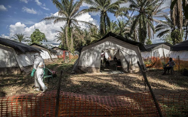 FILE -- An Ebola treatment centre in Mangima, Democratic Republic of the Congo, May 9, 2019. Experts are trying to understand how the disease has now emerged in the west while the country is under travel restrictions because of the coronavirus. (Finbarr O'Reilly/The New York Times)