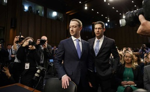 Mark Zuckerberg, left, the chief executive of Facebook, and Joel Kaplan, Facebook's vice president of global public policy, arrive to testify at a senate hearing on Capitol Hill in Washington, April 10, 2018. The New York Times