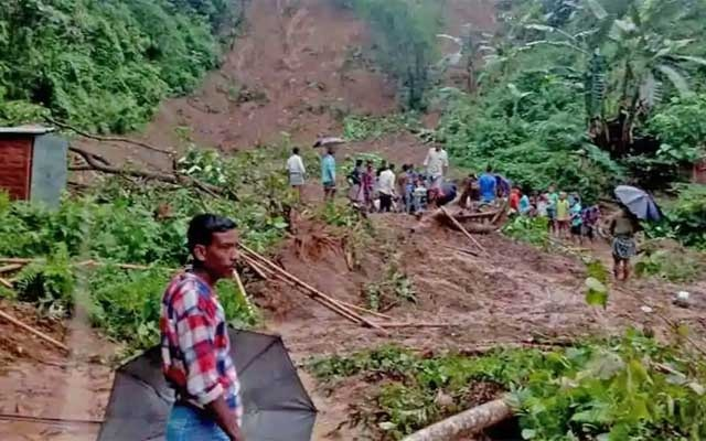 A landslide occurred at Karimganj leading to the death of at least six people in Assam on Tuesday. ANI