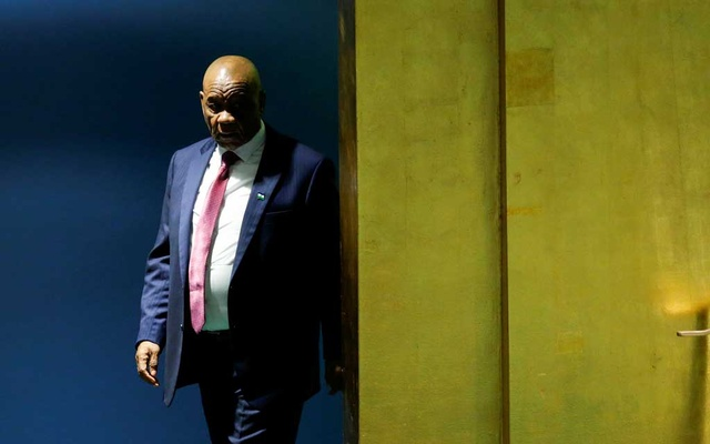 Lesotho's Prime Minister Thomas Motsoahae Thabane arrives to address the 73rd session of the United Nations General Assembly at the UN headquarters in New York, US, Sept 28, 2018. REUTERS