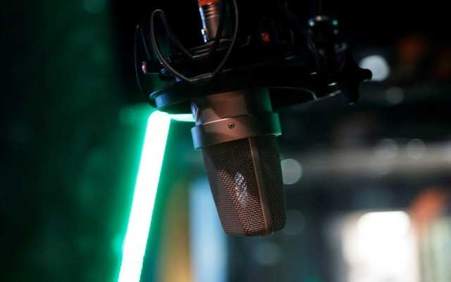 A microphone is seen at a recording studio in Vienna Thomson Reuters