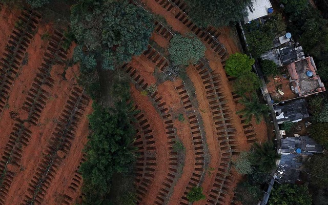 Newly dug graves are seen at Sao Luiz cemetery where the administration says they recently dug 3.000 new graves amid the outbreak of the coronavirus disease (COVID-19), in Sao Paulo, Brazil, June 4, 2020. Picture taken with a drone. REUTERS