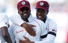 West Indies' Darren Bravo and Shimron Hetmyer celebrate the end of an England innings during a Test match at the Sir Vivian Richards Stadium, North Sound, Antigua and Barbuda, February 2, 2019 Action Images via Reuters/Paul Childs/File Photo
