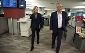 Stan Wischnowski, executive editor and senior vice president of the Philadelphia Inquirer, takes new publisher Lisa Hughes on a newsroom tour Feb 3. THE PHILADELPHIA INQUIRER