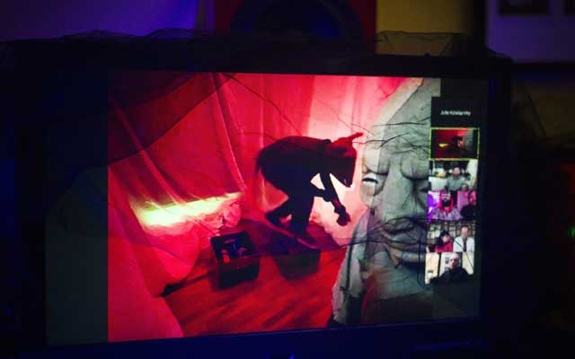 """Jonathon Lyons performs as a giant rat in the immersive digital show """"Eschaton,"""" photographed on a screen in New York, Jun 1, 2020. The New York Times"""