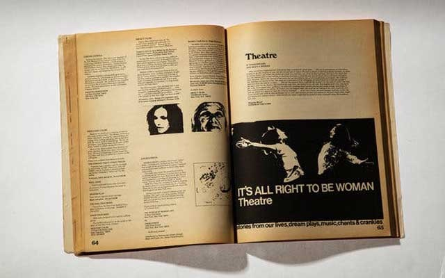 """A copy of the """"The New Woman's Survival Catalog,"""" from 1973, in New York, Feb. 20, 2020. The book is culmination of a six-month, 12,000-mile road trip from 1973 in which the authors documented a nationwide network of feminist alternative culture and resources. (Tony Cenicola/The New York Times)"""
