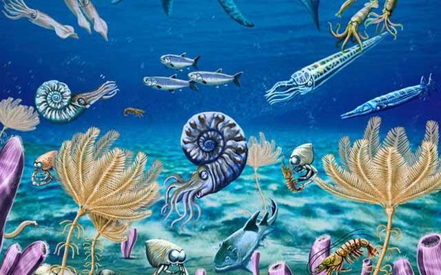 An artist's depiction of the diversified and complex Early Triassic marine ecosystem of southeastern Idaho, US, revealed soon after the Earth's worst mass exinction, contradicting long-held notion life was slow to recover from calamity. Illustration courtesy of Jorge Gonzalez/Handout via REUTERS