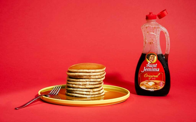 A bottle of Aunt Jemima brand pancake syrup in New York on April 3, 2020. Aunt Jemima, a syrup and pancake mix brand, will get a new name and image after Quaker Oats, its parent company, acknowledged that the brand's origins were