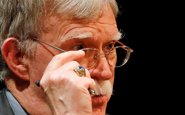 Former US national security advisor John Bolton adjusts his glasses during his lecture at Duke University in Durham, North Carolina, US February 17, 2020. REUTERS