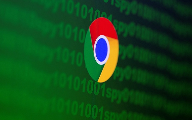 Google Chrome logo is seen near cyber code and words