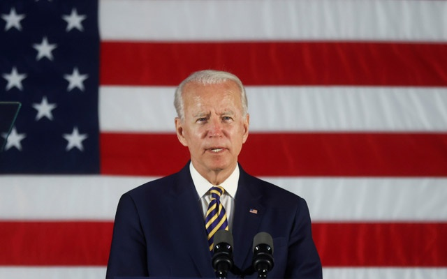 Democratic US presidential candidate and former Vice President Joe Biden speaks during a campaign event at a community centre in Darby, Pennsylvania US, June 17, 2020. REUTERS