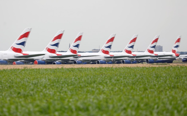 British Airways Airbus A380 airplanes are stored on the tarmac of Marcel-Dassault airport at Chateauroux during the outbreak of the coronavirus disease (COVID-19) in France Jun 10, 2020. REUTERS