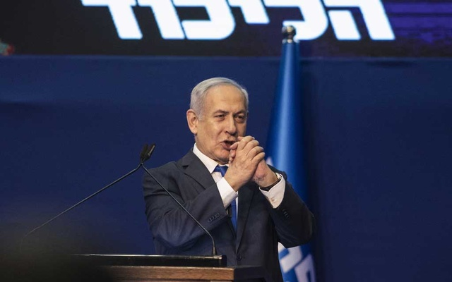Israeli Prime Minister Benjamin Netanyahu celebrates his apparent election victory in Tel Aviv, Israel, March 3, 2020. (Dan Balilty/The New York Times)