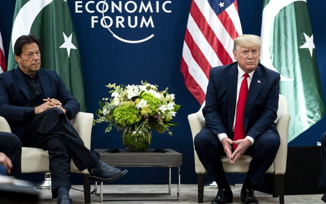 President Donald Trump participates in a meeting with Prime Minister Imran Khan of Pakistan at the World Economic Forum in Davos, Switzerland, Jan 22, 2020. Khan was criticised for using an Islamic term of veneration when referring to the mastermind of the 9/11 attacks. Anna Moneymaker/The New York Times