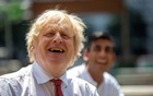 Britain's Prime Minister Boris Johnson and Chancellor Rishi Sunak visit Pizza Pilgrims in West India Quay, in London, Britian June 26, 2020. Heathcliff O'Malley/Pool via REUTERS